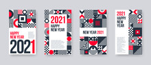 2021 New Year Greeting Card Set. Poster Set With Geometric Shapes And Pattern. Monochrome Design With Red Elements. Design For Greeting Card, Poster, Cover, Invitation, Vector Illustration.