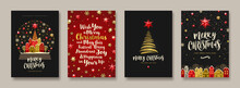 Set Of Christmas And New Year Greeting Card.  Background With Christmas Tree And Decor. Vector Illustration. Holiday Design For Greeting Card, Invitation, Cover, Calendar, Etc.