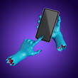 Leinwandbild Motiv 3d render, scary blue zombie hands hold smart phone gadget, mobile device with blank screen mockup. Halloween clip art isolated on violet background