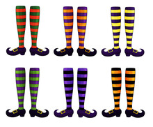 Halloween Witch Legs Collection. Scary Witch Legs, Stripe Socks And Boots. Witches Feet In Striped Socks Set. Witch Legs Isolated In White. Many Types Of Witch Socks. Happy Halloween Caracters.