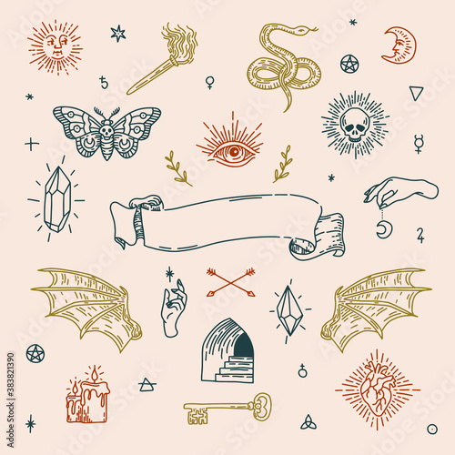 Boho witch magic symbols set Wallpaper Mural