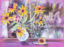 Bouguet Of Yellow Flowers On W...