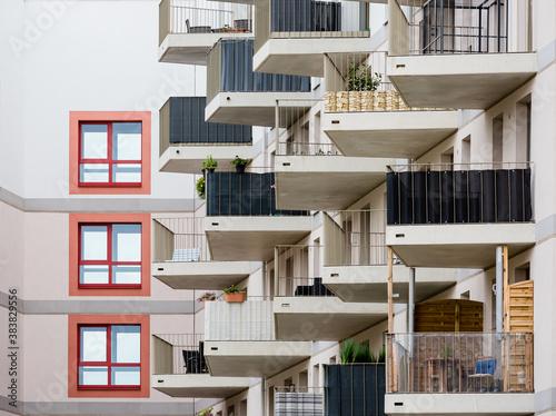 Fototapeta apartment building with balconies