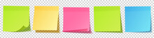Realistic Blank Sticky Notes. Sheets Of Note Papers. Paper Reminder. Vector Illustration.