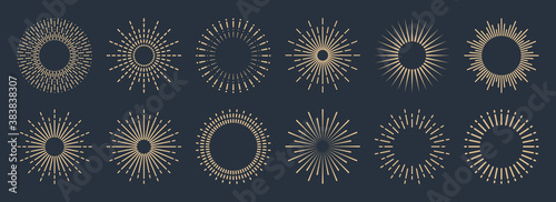 Vintage sunburst collection. Bursting golden sun rays. Fireworks. Logotype or lettering design element. Radial sunset beams. Vector illustration.