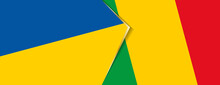 Ukraine And Mali Flags, Two Vector Flags.