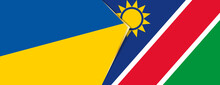 Ukraine And Namibia Flags, Two Vector Flags.