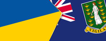 Ukraine And British Virgin Islands Flags, Two Vector Flags.