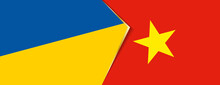Ukraine And Vietnam Flags, Two Vector Flags.