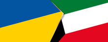 Ukraine And Kuwait Flags, Two Vector Flags.