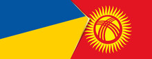 Ukraine And Kyrgyzstan Flags, Two Vector Flags.