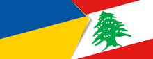 Ukraine And Lebanon Flags, Two Vector Flags.