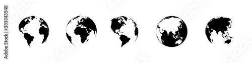 Obraz Earth globe collection. Earth vector icons. World map in flat design. Earth globes, isolated. World maps for web design. Vector illustration - fototapety do salonu