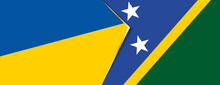 Ukraine And Solomon Islands Flags, Two Vector Flags.