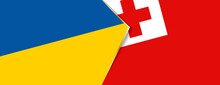 Ukraine And Tonga Flags, Two Vector Flags.