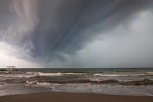 Low Stormy Sky With Dark Gray ...