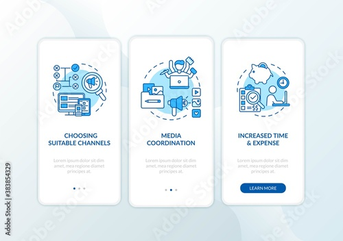 Marketing channel strategy onboarding mobile app page screen with concepts. Social network coordination walkthrough 3 steps graphic instructions. UI vector template with RGB color illustrations