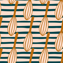 Orange Corolla Silhouettes Seamless Pattern. Mixing Equipment Print With Stripped Background.