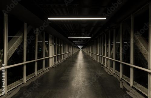 Fototapeta Abstract amazing view on abandoned structure long dark hallway, corridor