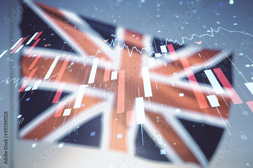 Abstract virtual crisis chart illustration on flag of Great Britain and sunset sky background Wallpaper Mural