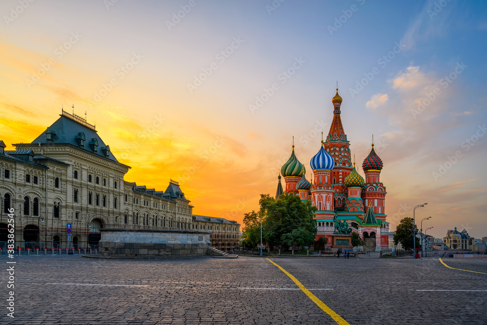 Fototapeta Saint Basil's Cathedral and Red Square in Moscow, Russia. Architecture and landmarks of Moscow. Sunrise cityscape of Moscow