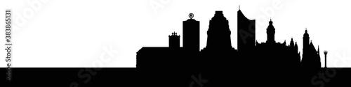 Skyline Leipzig – Umrisse als Vektorgrafik (Silhouette) Canvas Print