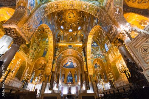 Golden mosaic in La Martorana church, Palermo, Italy Canvas Print