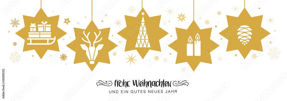Fototapeta frohe Weihnachten mit goldenen Sternen - banner Weihnachtsdekoration - deutsch.
