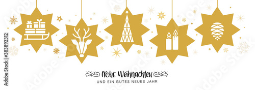 Obraz frohe Weihnachten mit goldenen Sternen - banner Weihnachtsdekoration - deutsch. - fototapety do salonu
