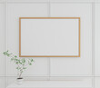 Modern white podium with white pattern background for product and picture frame. 3d rendering