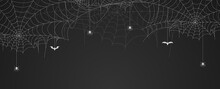 Spider Web Banner With Spiders...