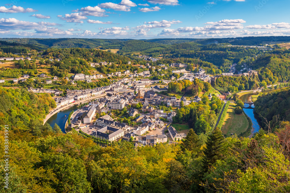 Fototapeta High angle view on the Village of Bouillon and the surrounding Semois river in the Luxembourg Province and Ardennes Region of Wallonia Belgium