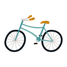 Illustration Of Cute Blue Bike Drawn By Hand. On White Background. Children's Print. For Design, Decoration, Invitations, Albums. Flat Style, Vector