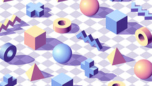 Abstract Background With Isometric 3D Shapes On Checkered Floor