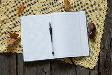 Checkered Notebook With Clean Flats And Pen On Wooden Table And Autumn Leaves With Chestnuts, Workplace