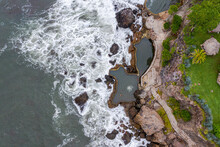 Aerial View Of Sea Waves And Fantastic Rocky Coast, El Salvador