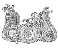 Vector Coloring Book For Adults. Halloween Pumpkins In Mandala Style With Detailed Patterns