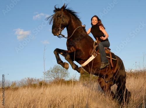 Fototapeta rearing stallion and girl obraz