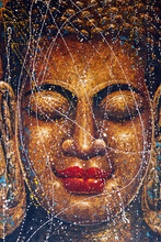 Face Of The Buddha. Painting. Kep. Cambodia.  25/02/2017