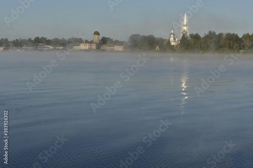 Early foggy morning Volkhov river.