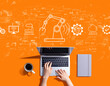 Leinwandbild Motiv Smart industry concept with person using a laptop computer