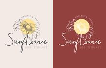 Sunflower Hand Drawn Floral Logo Premium