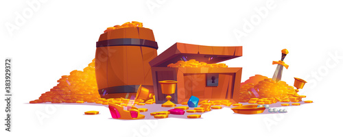 Treasury with pile of golden coins, jewelry and gem. Vector cartoon illustration with treasure chest and wooden barrel full of gold, goblets, crown and sword isolated on white background