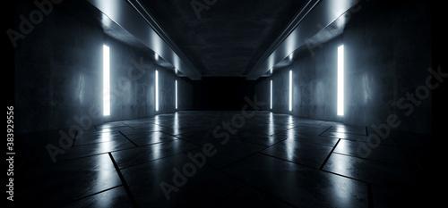 Garage Cement  Sci Fi Concrete Grunge Dark Underground Studio hangar Parking Car Showroom Orange Blue Lights Modern Background Futuristic 3D Rendering