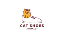 Cat Or Kitty Or Kitten Or Pet On Shoes Cute Logo Vector  Illustration