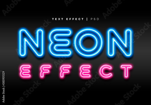 Neon Text Effect Mockup