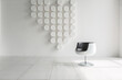 modern futuristic contemporary interior in extra white color with stylish chair and decorative wall