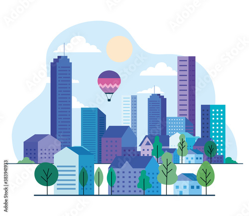 City landscape with buildings houses hot air balloons trees sun and clouds design, architecture and urban theme Vector illustration