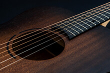 Wooden Classical Acoustic Guitar. Close Up.