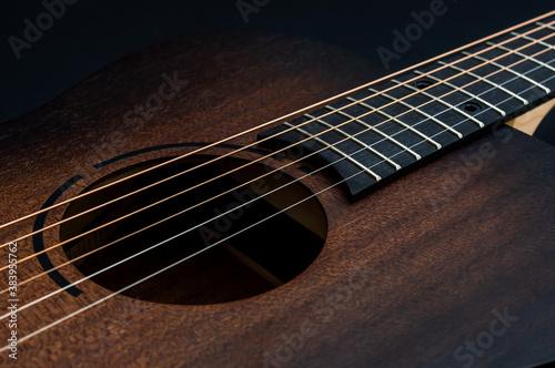 Cuadros en Lienzo Wooden classical acoustic guitar. Close up.